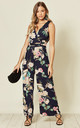 Wrap Over Style Jumpsuit in Navy Floral Print by Oeuvre