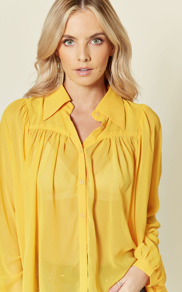 Sophie Summer Yellow Blouse With Puffy Sleeves by Bright & Beautiful