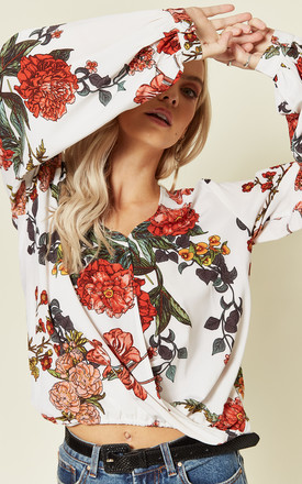 Long Sleeve Crossover Blouse in White Floral Print by Oeuvre