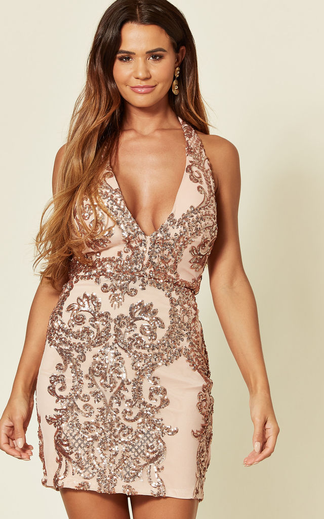 HEART BREAKER HALTER NECK SEQUIN MINI DRESS IN ROSE GOLD by Nazz Collection