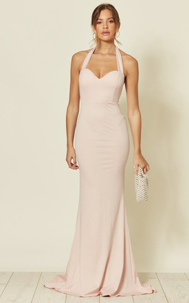 DREAM BACKLESS FISHTAIL MAXI DRESS IN NUDE by Nazz Collection