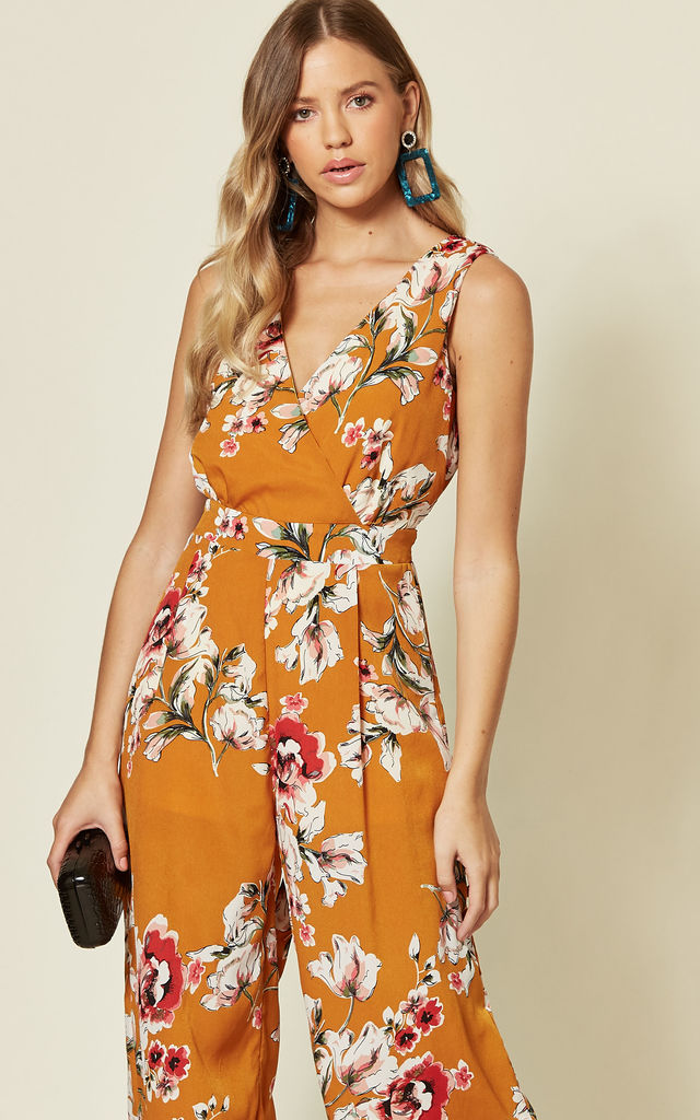 Wrap Over Style Jumpsuit in Yellow Floral Print by Oeuvre
