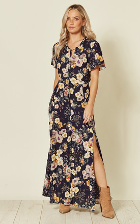 Dark Navy Floral Maxi Dress by ANGELEYE Product photo