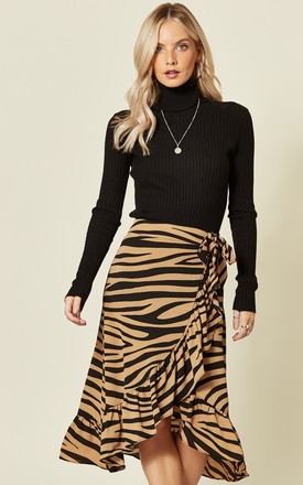 Zebra Print Frill Wrap Skirt by MISSI LONDON Product photo