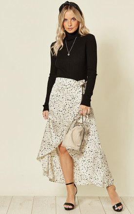 White Satin Dalmatian Print Wrap Skirt by Oeuvre