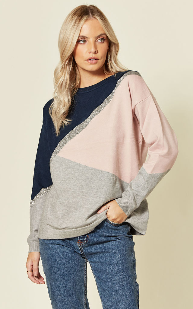 Roxy Chunky Knit Jumper with Pink Ice Colour Block by SUGARHILL BRIGHTON