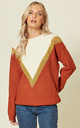 Roxy Chunky Knit Jumper with Lurex Gold Chevron by SUGARHILL BRIGHTON