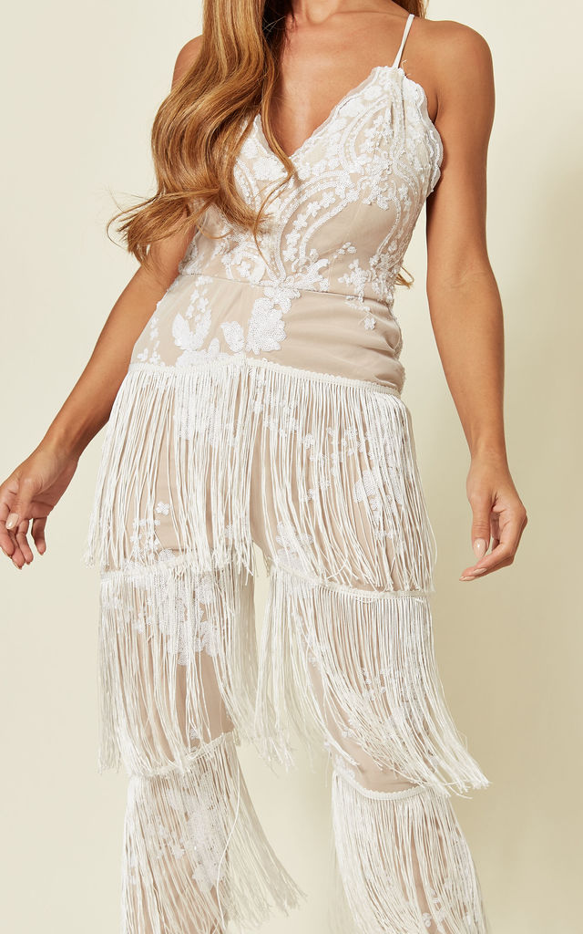 PERU Fringed Plunge Jumpsuit in White by Nazz Collection