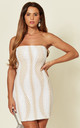 TIE ME UP SEQUIN BANDEAU MINI DRESS IN WHITE/NUDE by Nazz Collection