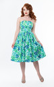 Strapless Flared Tropical Print Green Midi Dress by Zoe Vine