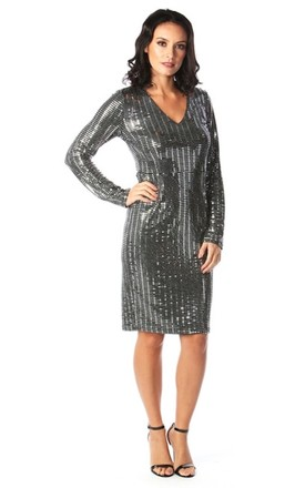 Lacie Long Sleeve Sequin Midi Dress in Silver by Want That Trend