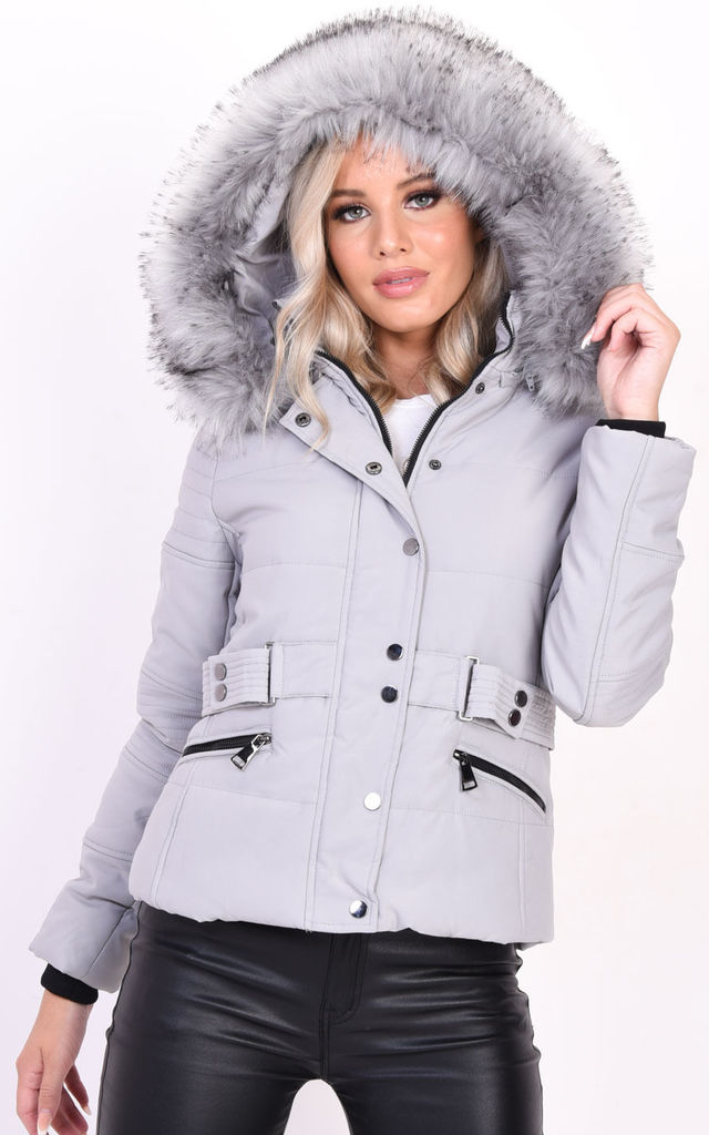 Quilted Grey Puffer Coat with Faux Fur Hood by LILY LULU FASHION