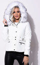 Quilted White Puffer Coat with Faux Fur Hood by LILY LULU FASHION