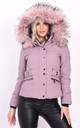 Quilted Pink Puffer Coat with Faux Fur Hood by LILY LULU FASHION