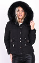 Quilted Black Puffer Coat with Faux Fur Hood by LILY LULU FASHION