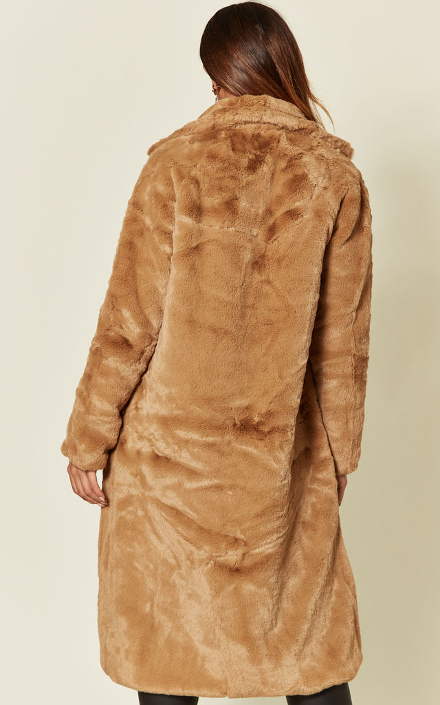 Long Faux Fur Coat in Camel by The ModestMe Collection
