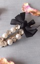 Pearl Crystal and Black Bow Hair Clip by Olivia Divine Jewellery
