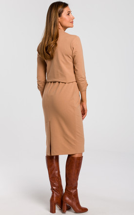 3/4 Sleeve Knitted Midi Dress in Cappuccino Brown by MOE