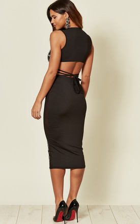 EMPRESS SHEER MIDI SKIRT & TOP CO-ORD IN BLACK by Nazz Collection