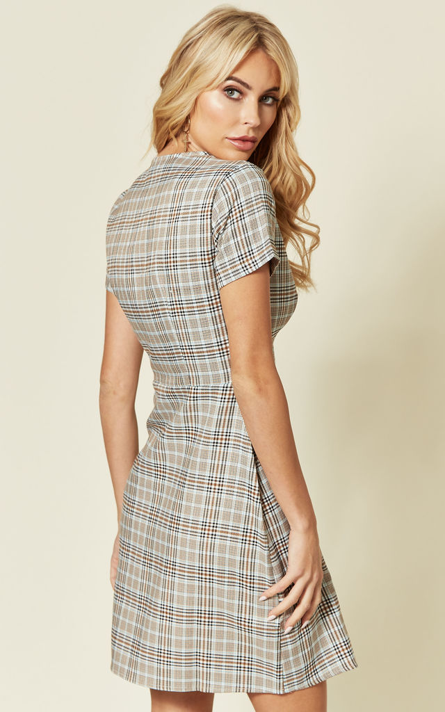 Button Through Mini Dress in Multi Check Print by MISSTRUTH