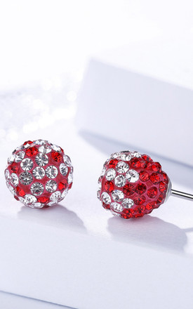 Sterling Silver/Red Shamballa Stud Earrings by Kusuz Silver Jewellery