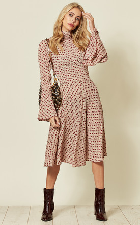 Pink Floral High Neck Midi Dress With Bell Sleeves by LOVE SUNSHINE Product photo