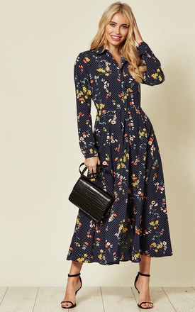 Long Sleeve Collared Maxi Dress In Navy Floral/Dot Print by LOVE SUNSHINE Product photo