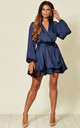 Madison Navy Satin Wrap Dress with Oversized Sleeves by SHE BY SOPHIE
