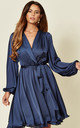 Madison Silky Navy Midi Dress with Bell Sleeves by SHE BY SOPHIE