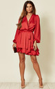 Madison Mini Dress in Red Satin Style by SHE BY SOPHIE