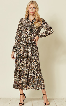 Collared Maxi Dress In Brown Leopard Print by LOVE SUNSHINE Product photo