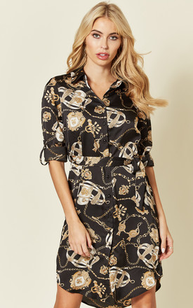 Satin Shirt Dress With Belt In Black Chain Print by LOVE SUNSHINE Product photo