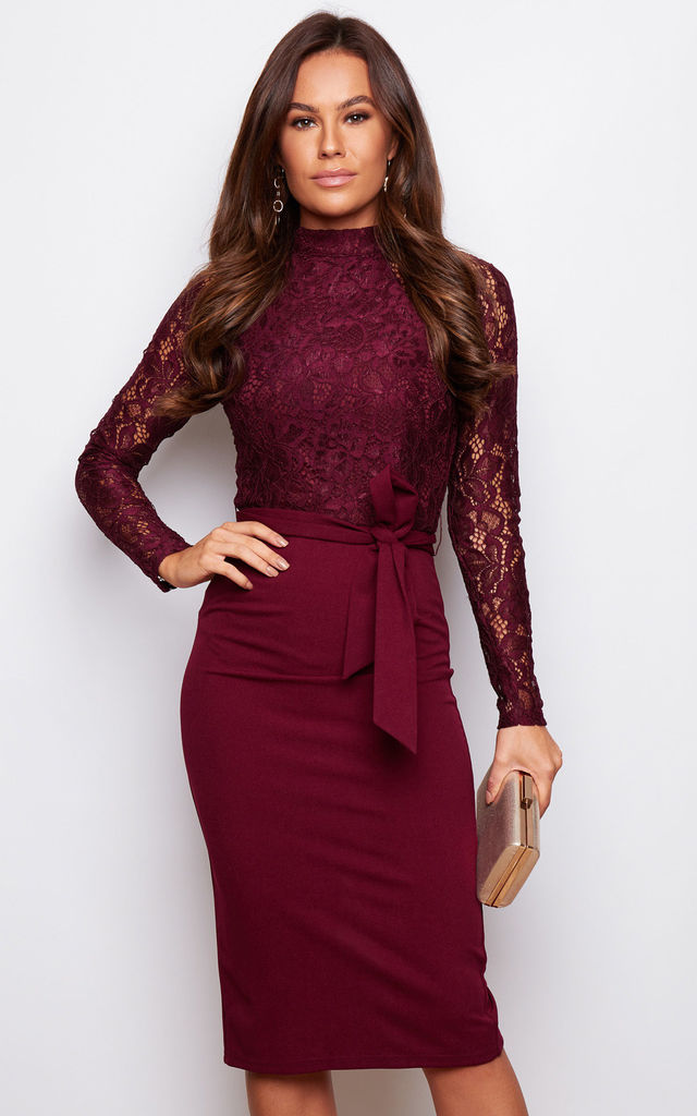 Abbey High Neck Long Sleeves Midi Dress Wine By Girl In Mind