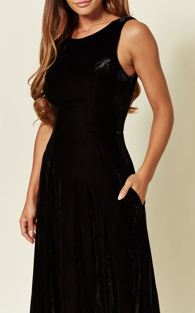 Black Velvet Issabella Maxi Party Sequin Dress by Bright & Beautiful
