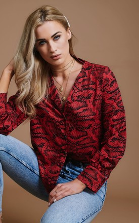 Long Sleeve Blouse in Red Snake Print by HAUS OF DECK
