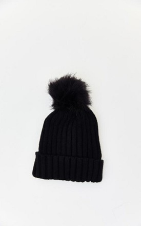 Ribbed Knit Pom Pom Hat in Black by HAUS OF DECK