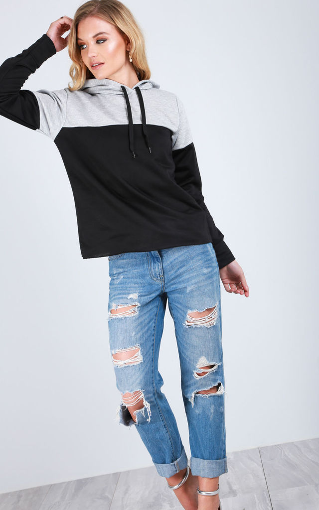 Long Sleeve Colour Block Hoodie in Grey/Black by Oops Fashion