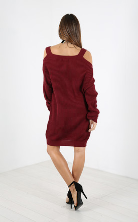 Cold Shoulder Knitted Jumper Dress in Wine Red by Oops Fashion