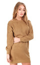 Cold Shoulder Knitted Jumper Dress in Camel by Oops Fashion