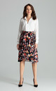High Waisted Midi Skirt in Dark Floral Print by LENITIF