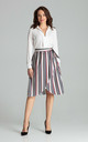 High Waisted Midi Skirt in Mixed Stripe by LENITIF