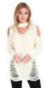 Jessica Ripped Jumper with Choker Neck in Cream by Oops Fashion