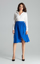 High Waisted Midi Skirt in Sapphire Blue by LENITIF