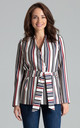 Blazer with Waist Belt Tie in Mixed Stripe by LENITIF