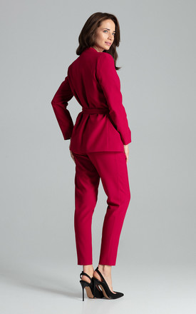 Blazer with Waist Belt Tie in Dark Red by LENITIF