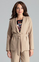 Blazer with Waist Belt Tie in Beige by LENITIF