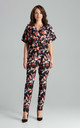 Kimono Sleeve Jumpsuit in Dark Floral Print by LENITIF