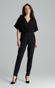 Kimono Sleeve Jumpsuit in Black by LENITIF