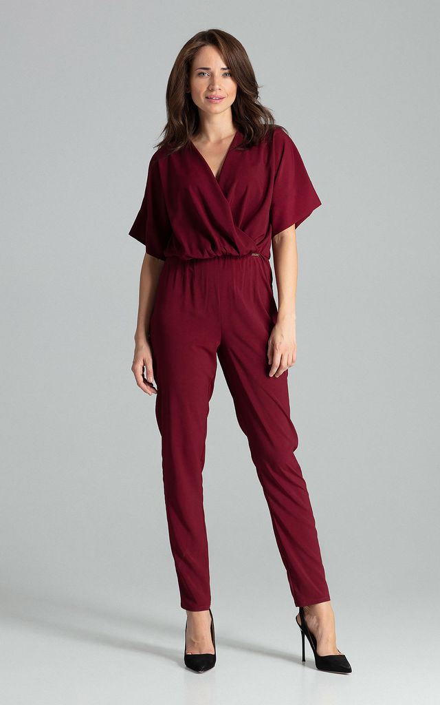 Kimono Sleeve Jumpsuit in Dark Red by LENITIF