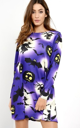 Long Sleeve Mini Dress with Purple Halloween Print by Oops Fashion